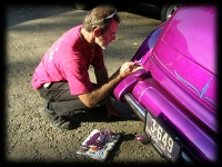 Blue Pinstriping on purple classic
