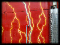 Lightning Red Big Rig Closeup of custom paint