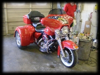 Red Motor Bike with Eagle graphics Airbrushed on