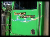 Dawson Transport Green Semi Truck With Lightning Airbrush