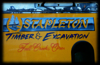 Stapleton shiny blue lettering on Yellow Door