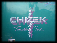 Chizek Trucking purple and marble lettering