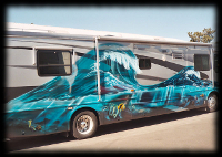 Ocean Wave Painted on side of Motor Coach