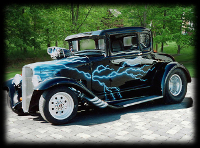 Old School Hot Rod with Blue Airbrushed Lightning